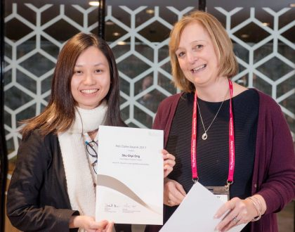 "Physiological Society's ""Future Physiology"" Conference – Ong Shu Chyi awarded the Rob Clarke Silver Award at the ""Future Physiology"" Conference for Early Career Researchers held at the University of Leeds, UK"