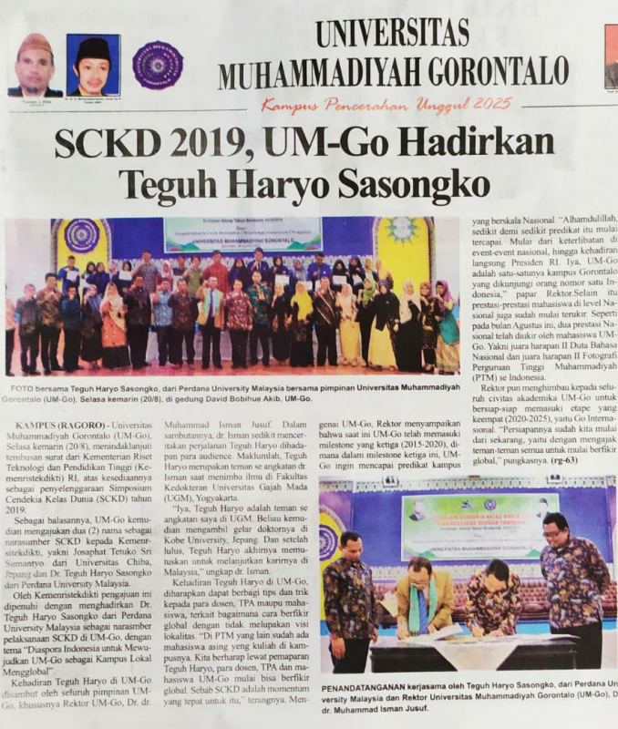 "Associate Professor Dr. Teguh Haryo Sasongko at the ""Simposium Cendekia Kelas Dunia (SCKD)"" at Universitas Muhammadiyyah Gorontalo, Indonesia (20th of August 2019)"